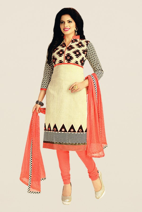 Salwar Studio Beige & Peach Printed Dress Material