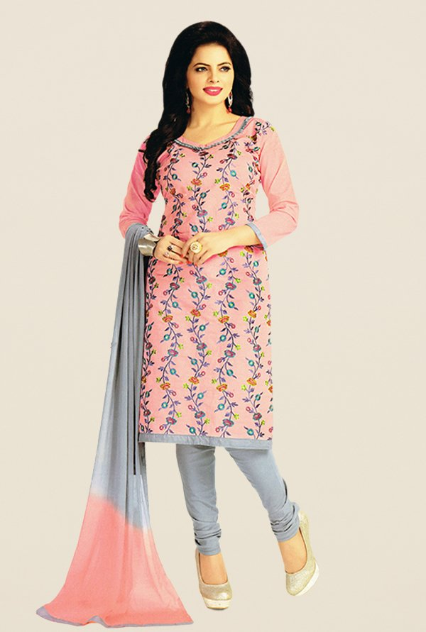 Salwar Studio Light Pink & Grey Embroidered Dress Material