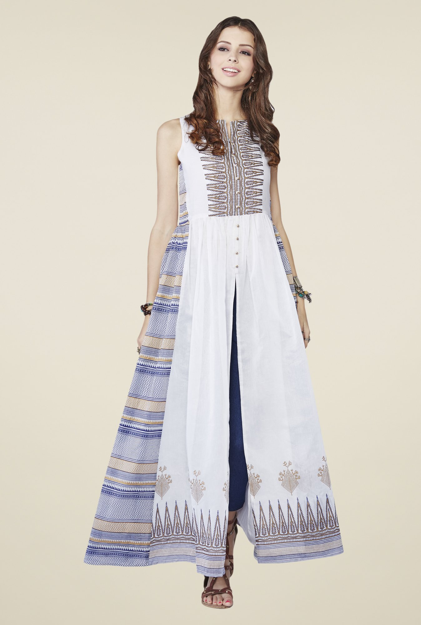 Global Desi White Printed Dress