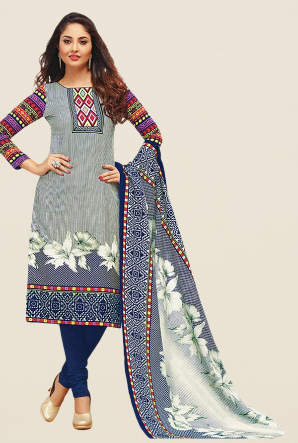 Salwar Studio Grey & Navy Printed Dress Material