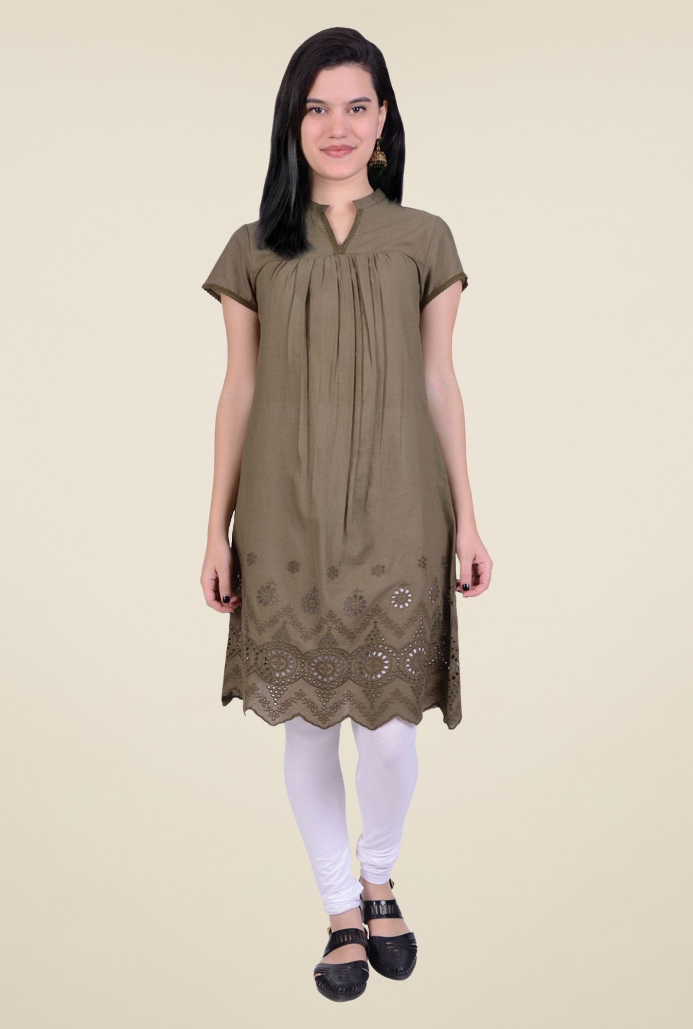 Juniper Olive Cotton Kurta