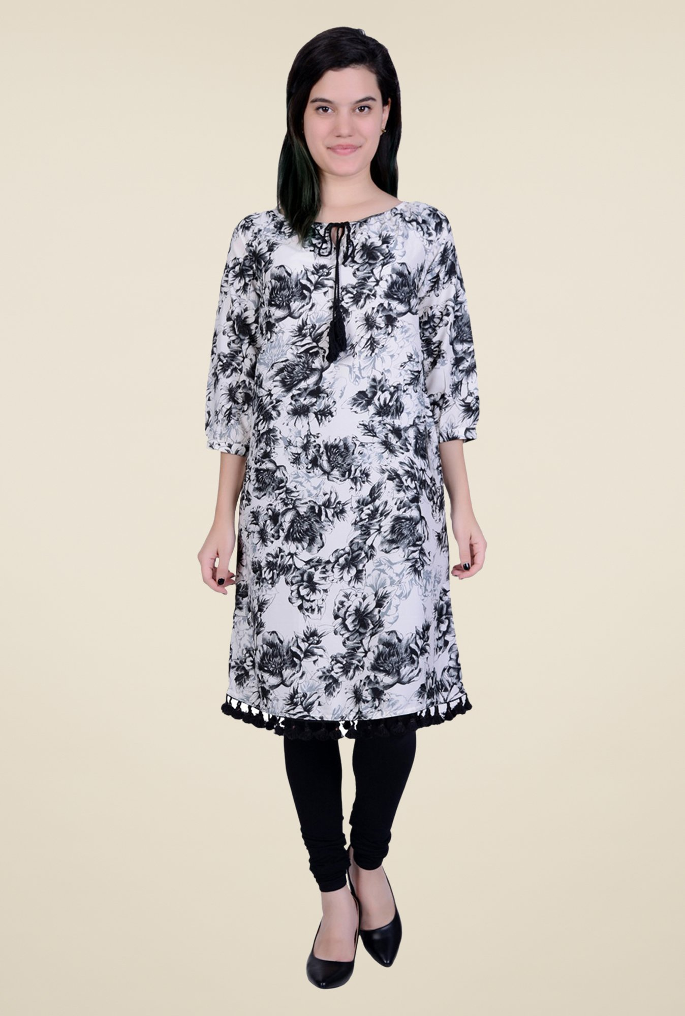 Juniper Off White Printed Kurta