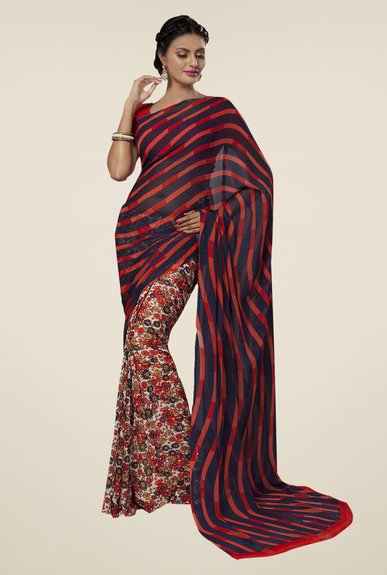 Ishin Multicolor Faux Georgette Striped Saree