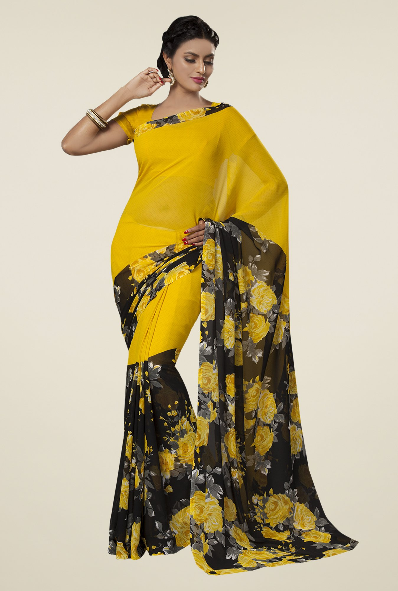 Ishin Yellow & Black Faux Georgette Floral Print Saree