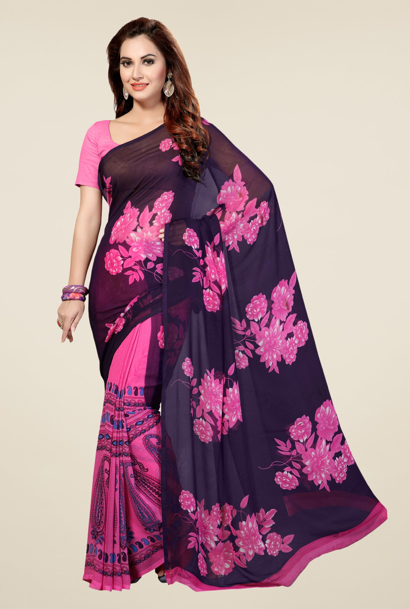 Ishin Pink & Navy Faux Georgette Floral Print Saree