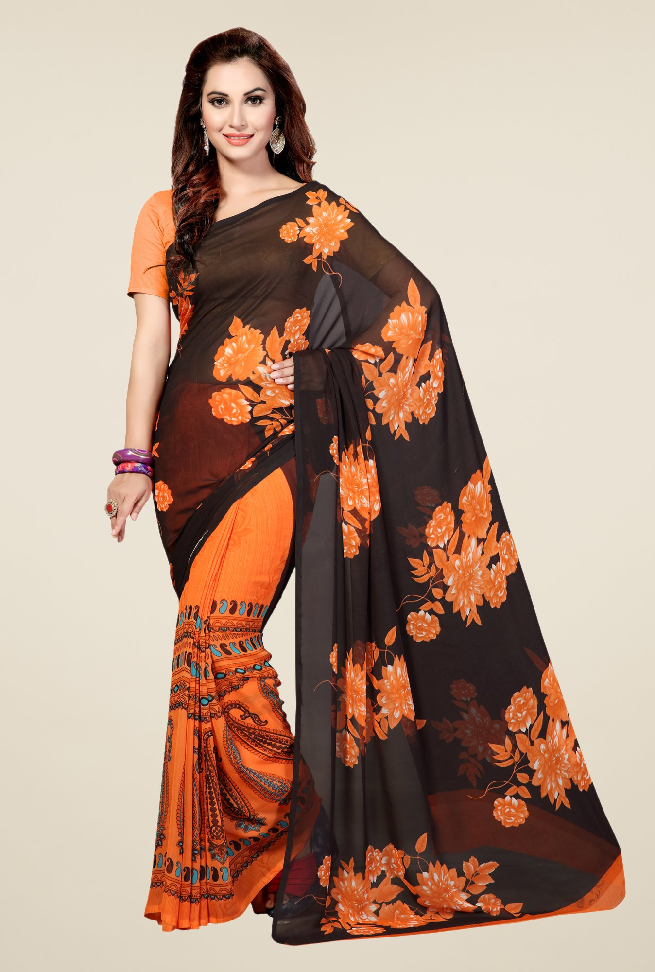 Ishin Orange & Black Faux Georgette Floral Print Saree
