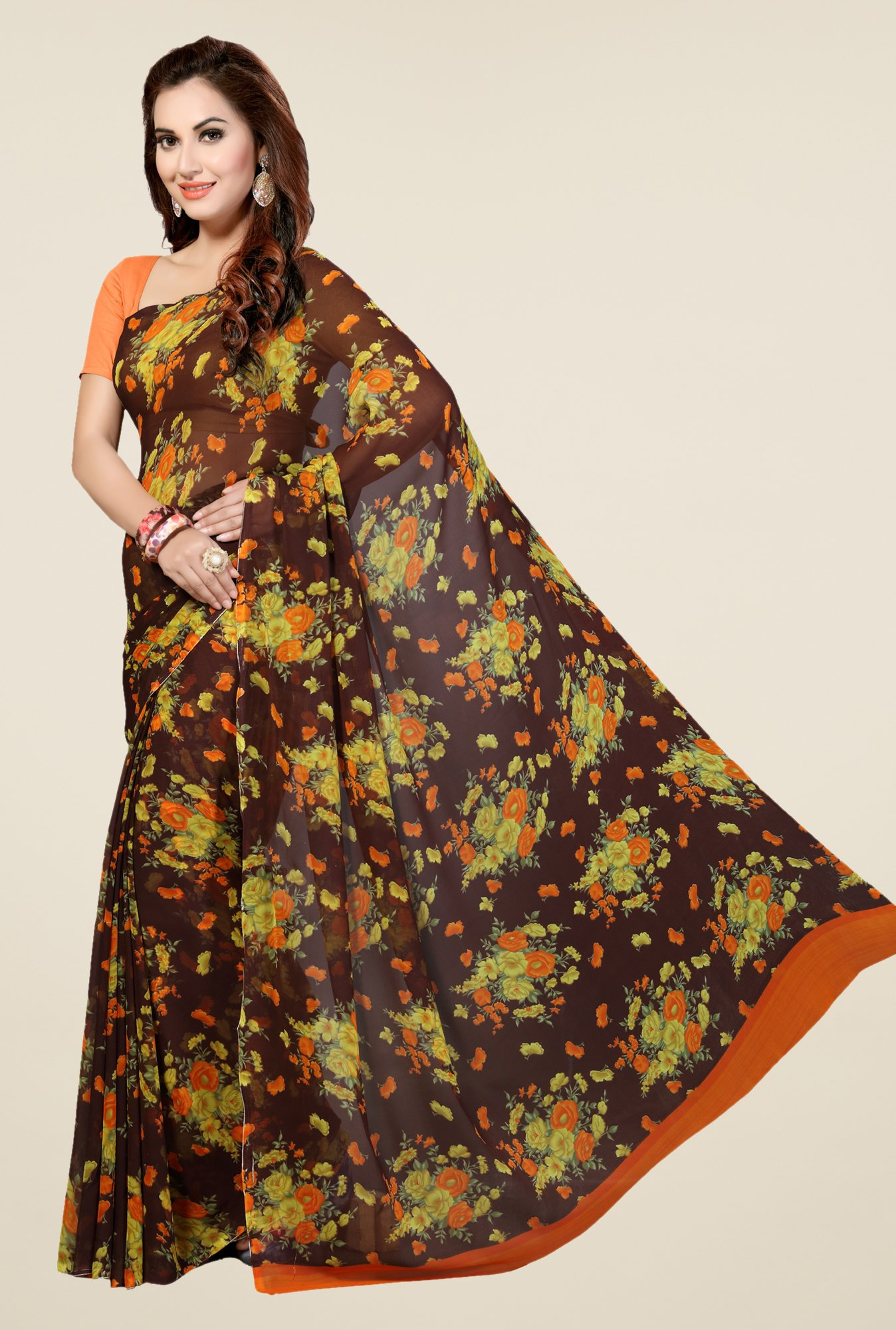 Ishin Brown Faux Georgette Floral Print Saree