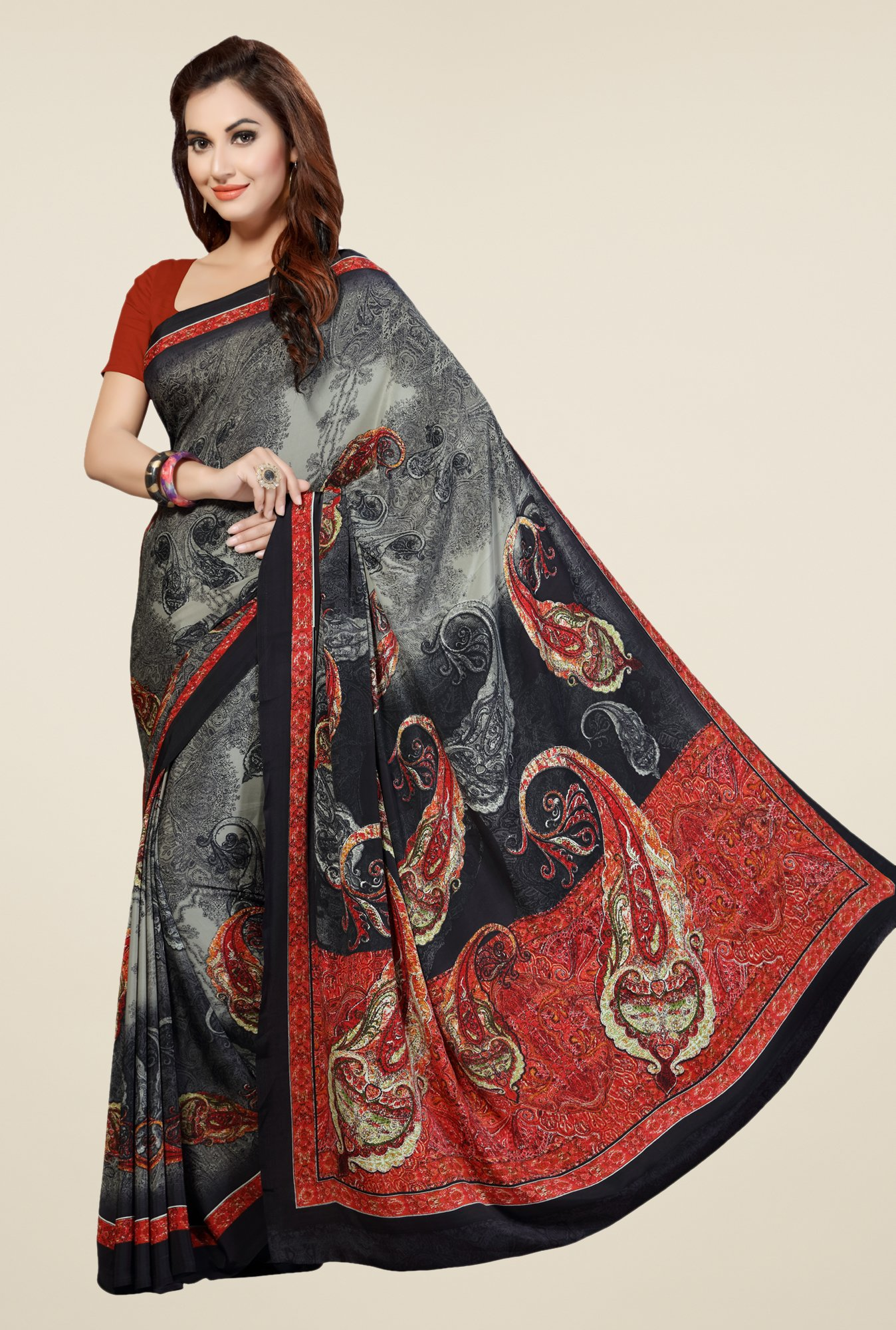 Ishin Grey & Black Faux Georgette Printed Saree