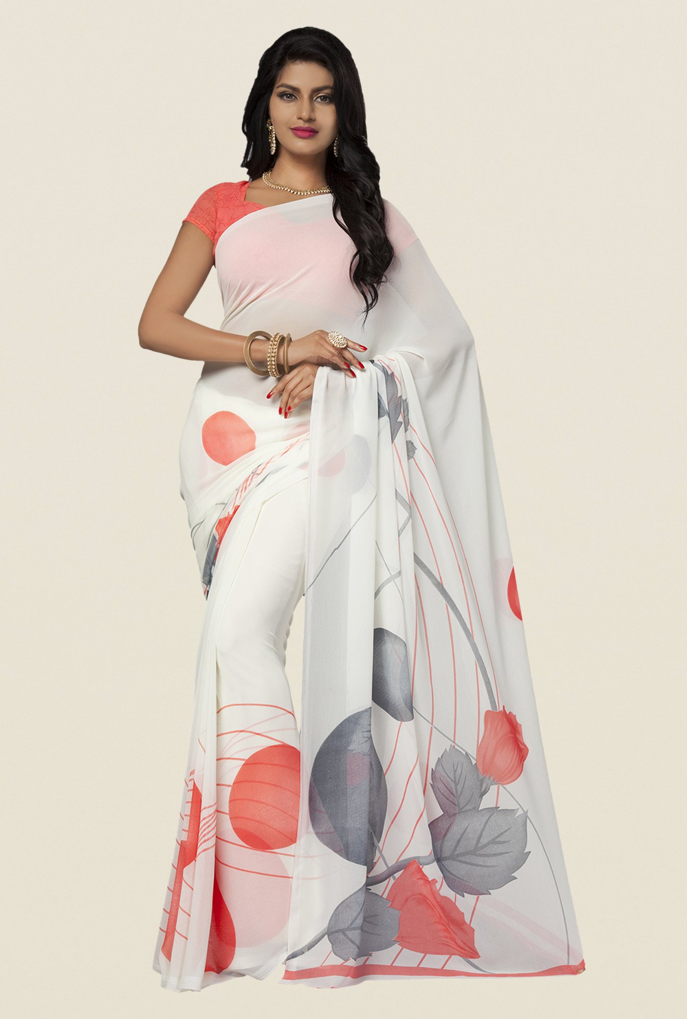 Ishin Off White Faux Georgette Printed Saree