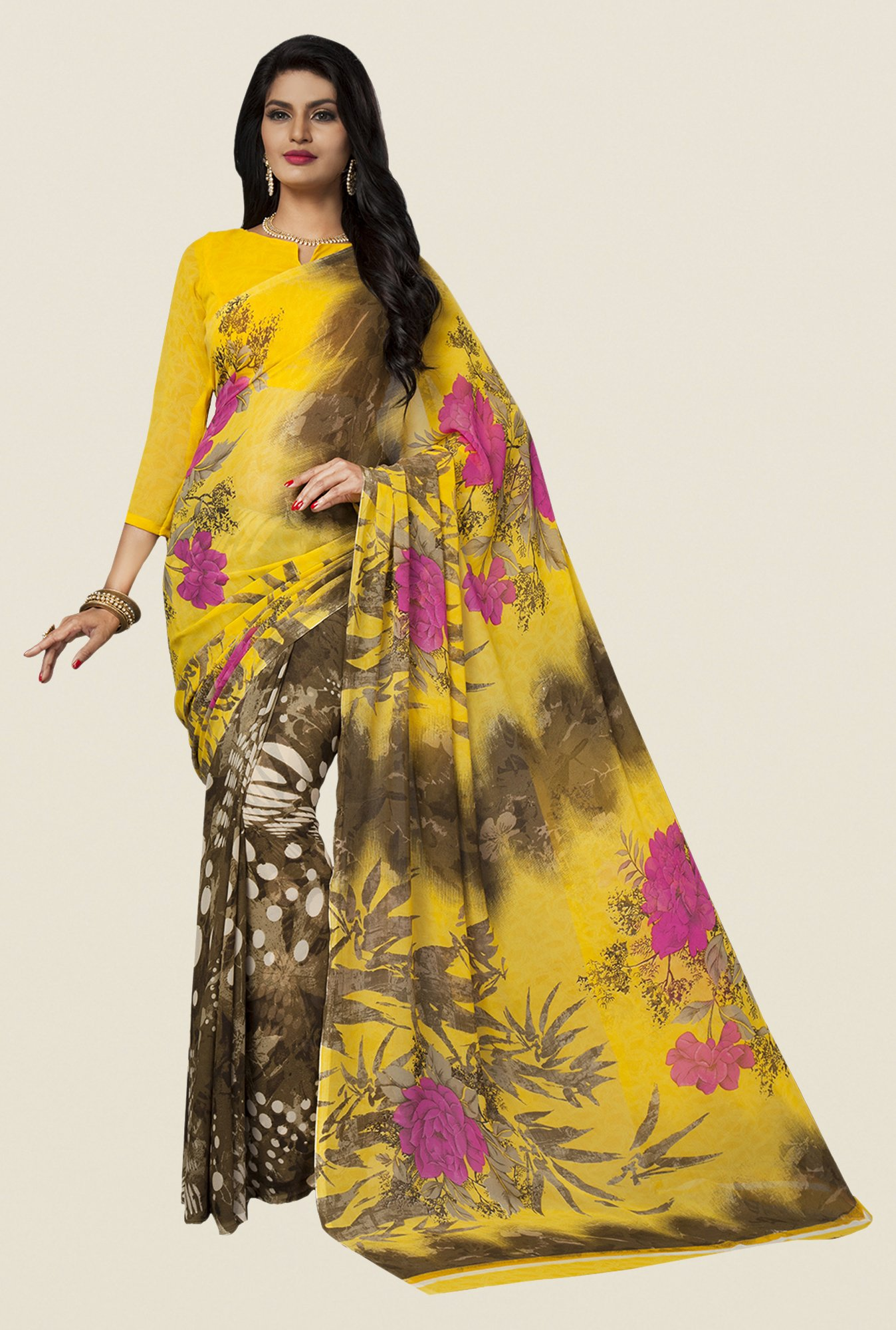Ishin Brown & Yellow Faux Georgette Floral Print Saree