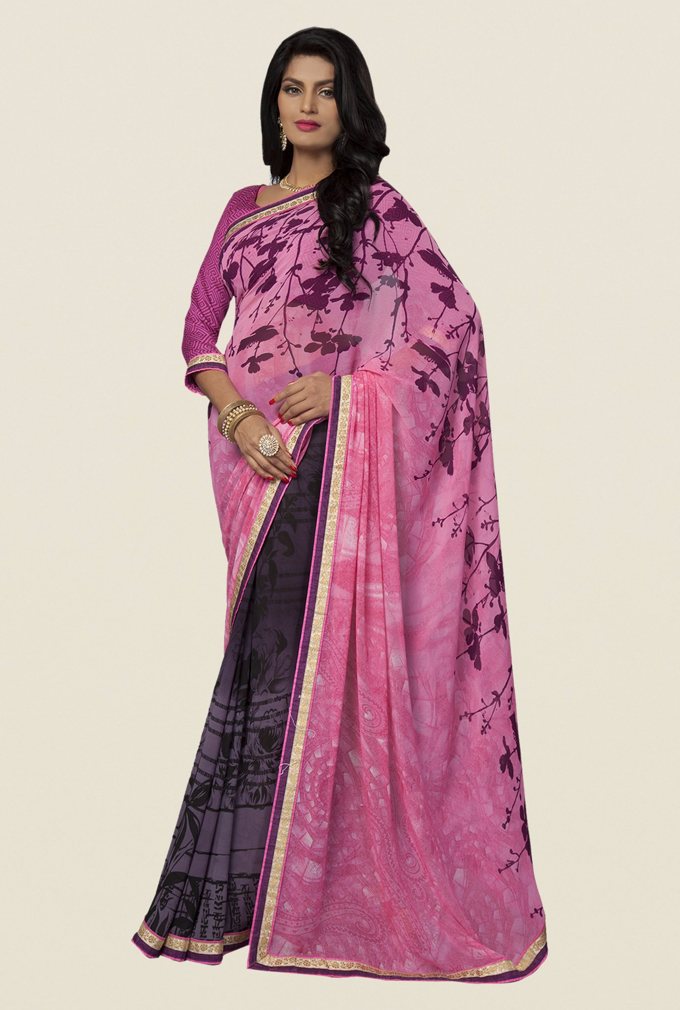 Ishin Purple & Pink Faux Georgette Printed Saree