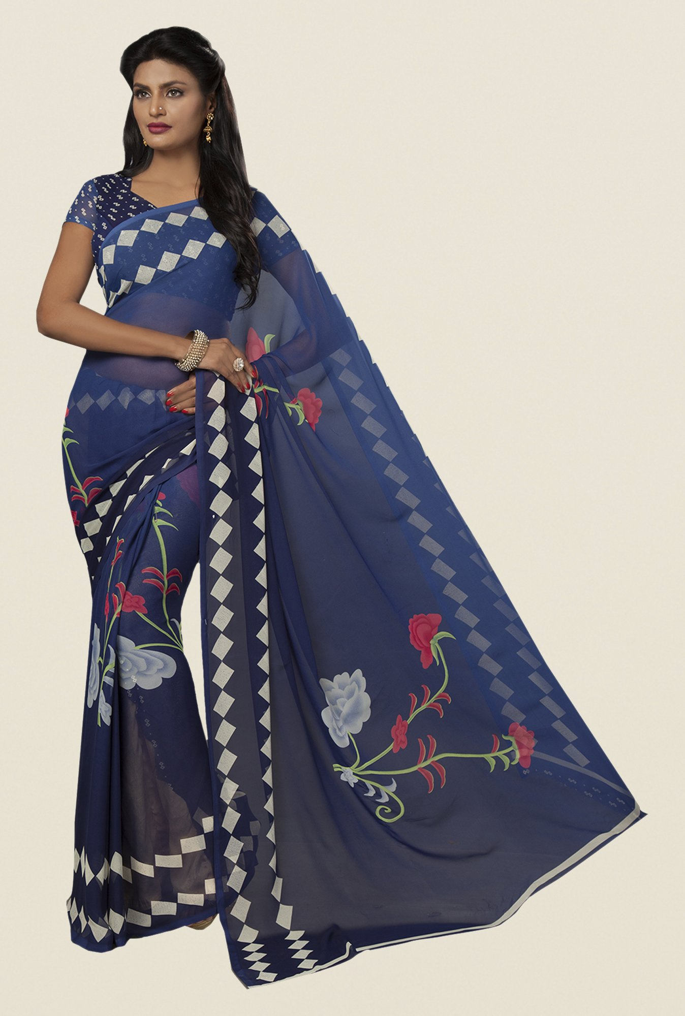 Ishin Navy Faux Georgette Floral Print Saree