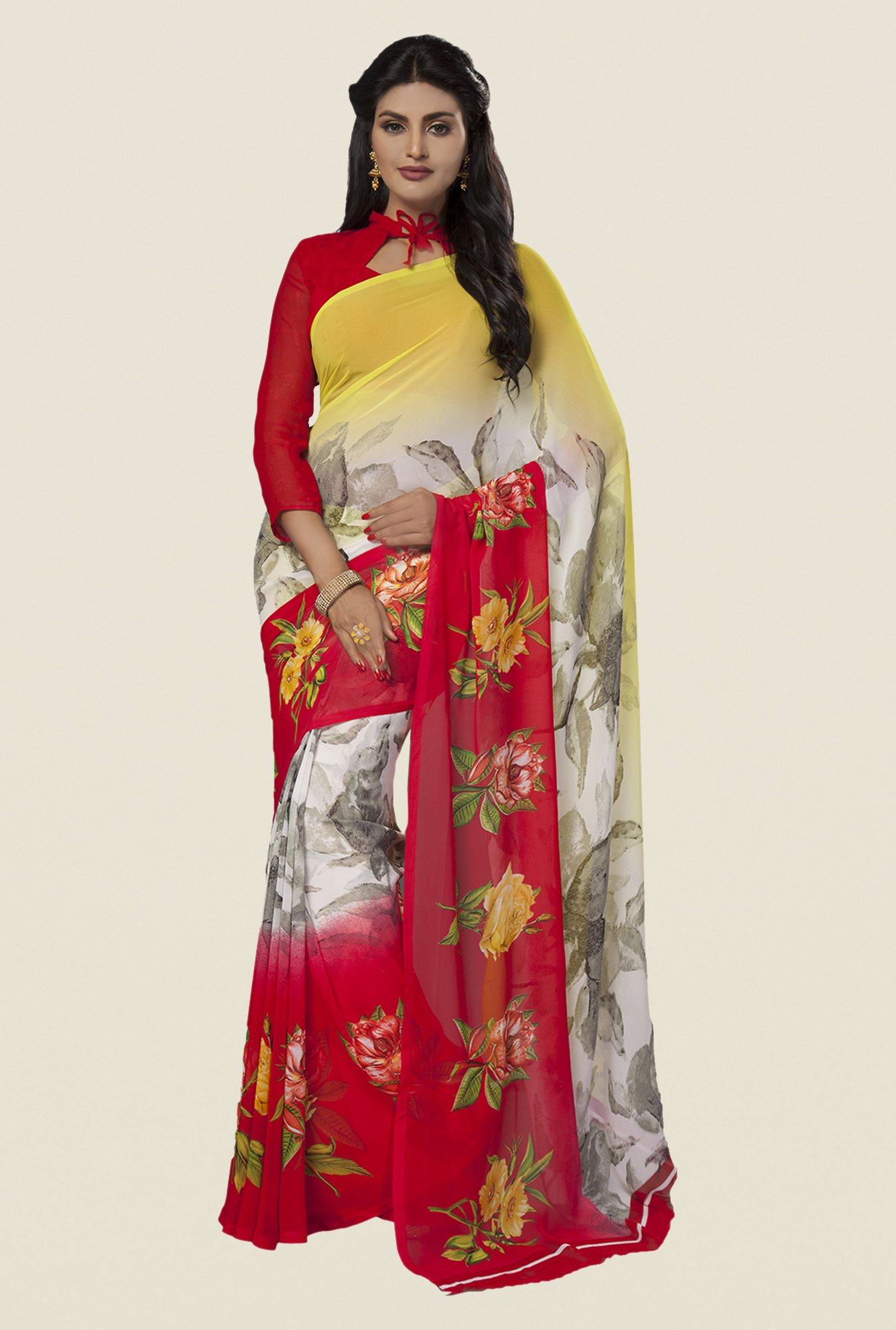 Ishin Multicolor Faux Georgette Floral Print Saree