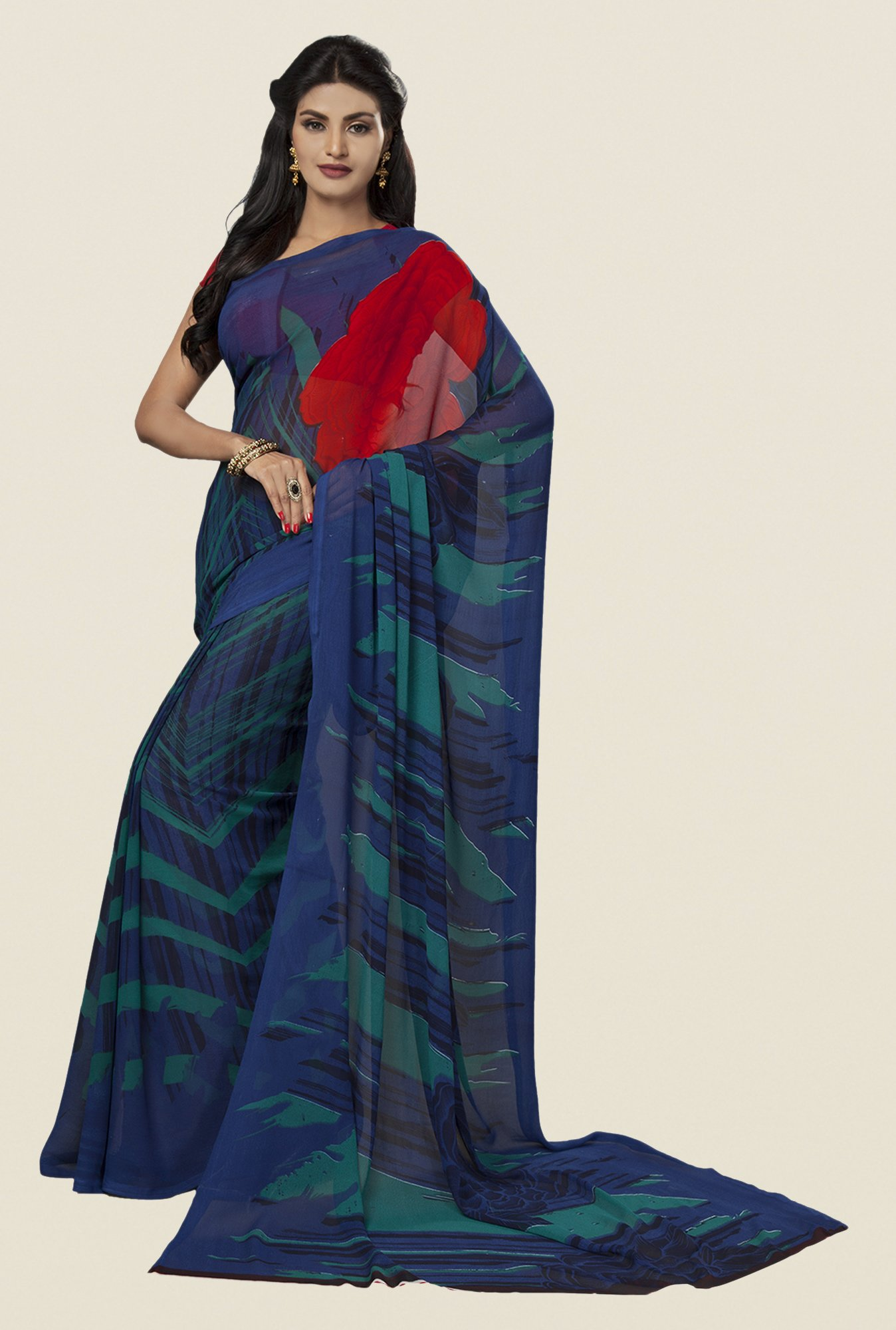 Ishin Navy Faux Georgette Printed Saree