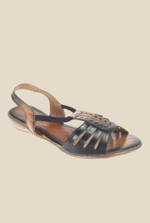 Khadim's Black & Tan Sling Back Sandals