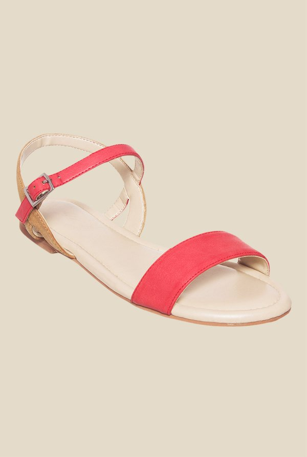 Bruno Manetti Pink & Tan Ankle Strap Sandals