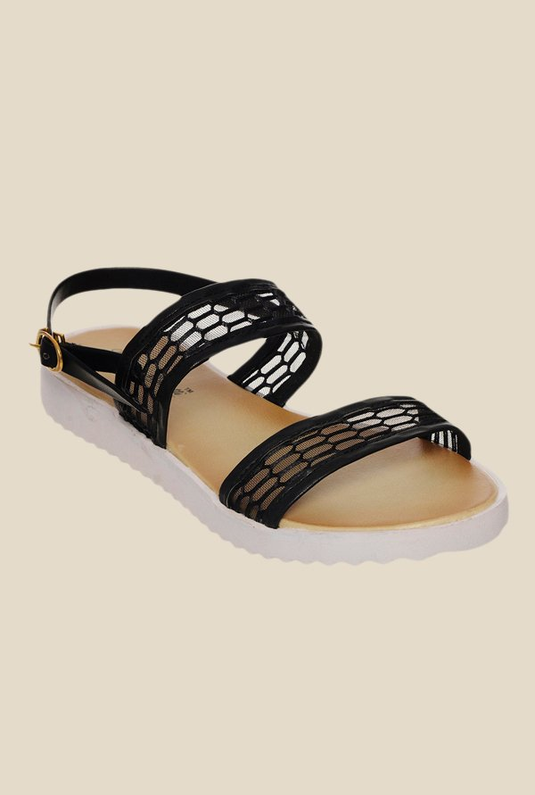 Bruno Manetti Black Back Strap Sandals