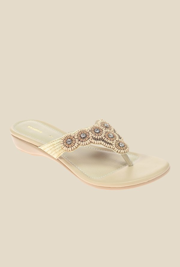 Khadim's Beige Wedge Heeled Thong Sandals