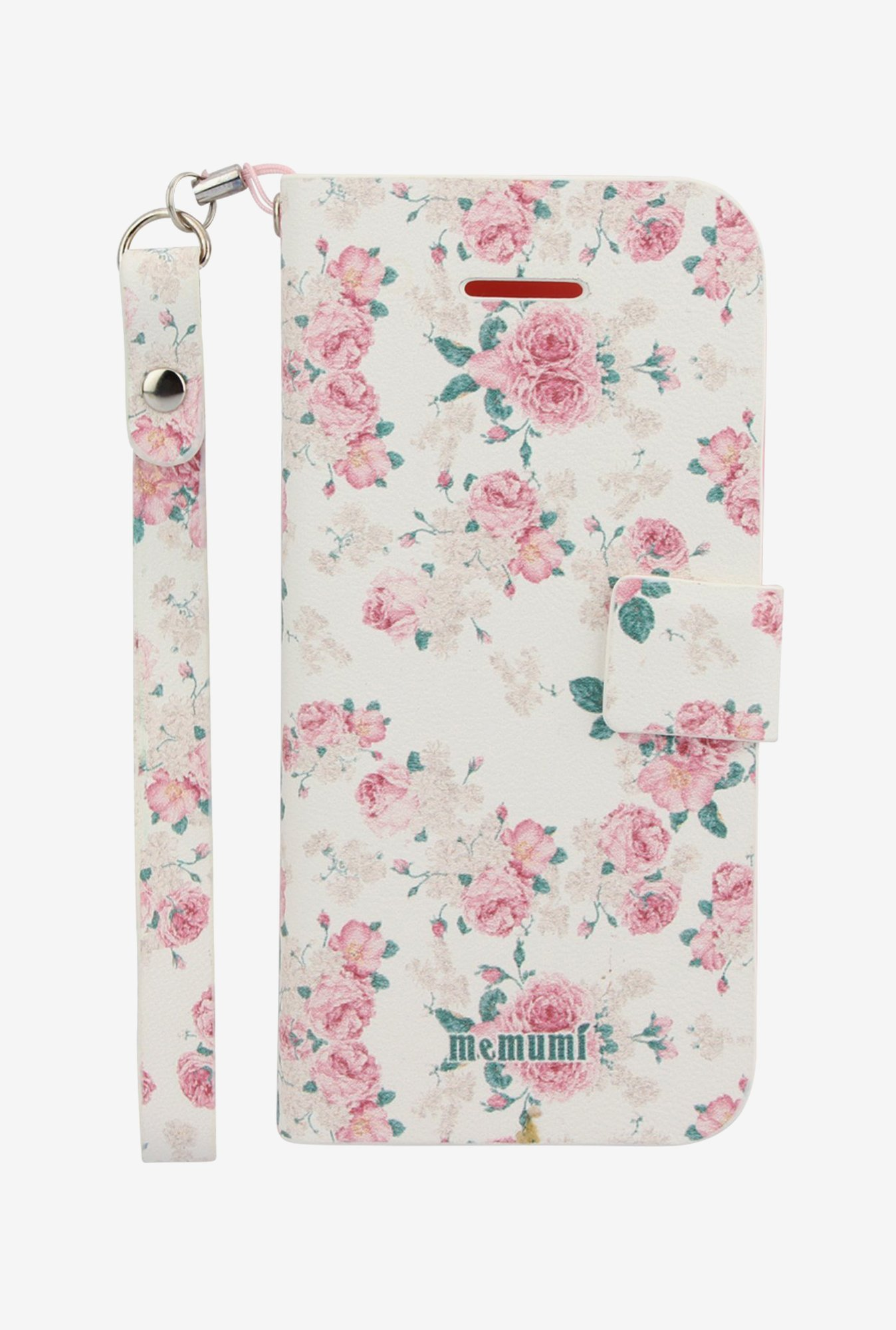 Memumi Flower Printed Flip Cover for iPhone 5C (White)