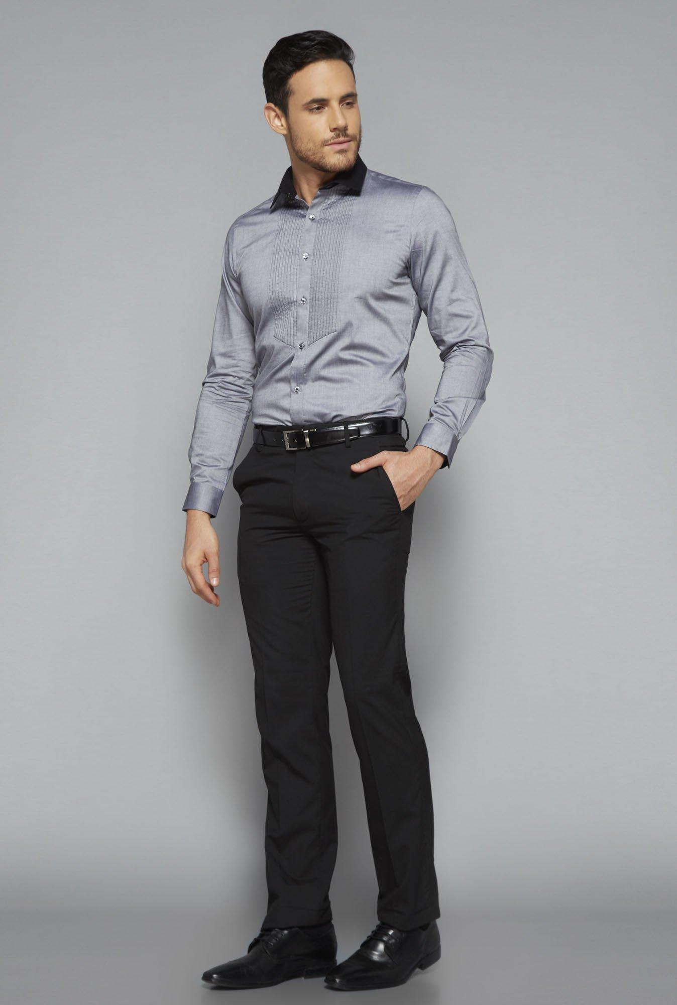 Weststreet by Westside Grey Slim Fit Shirt