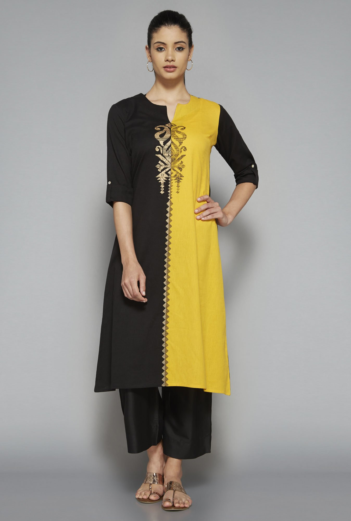 Utsa by Westside Black & Yellow Printed Kurta