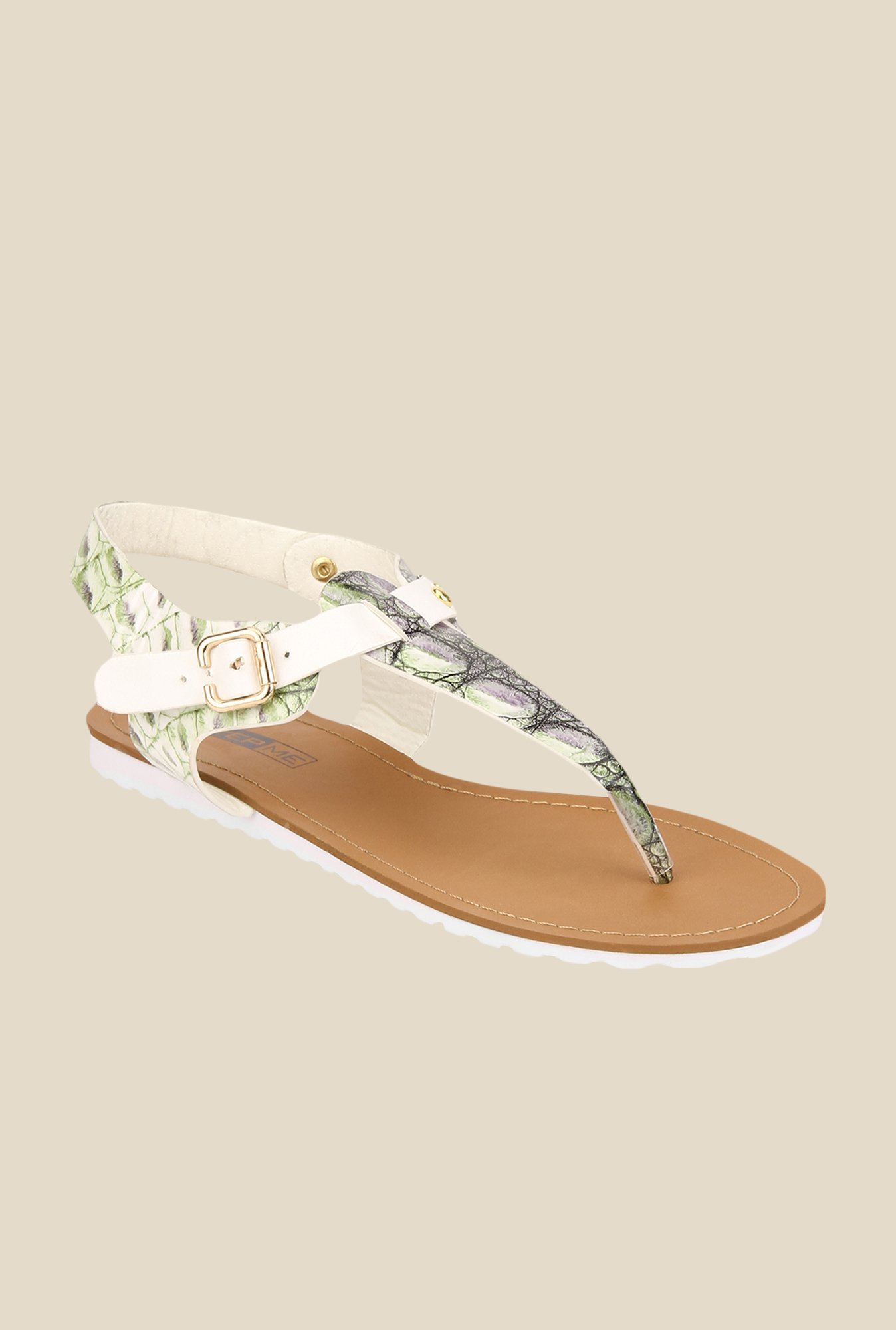 Yepme White & Green T-Strap Sandals