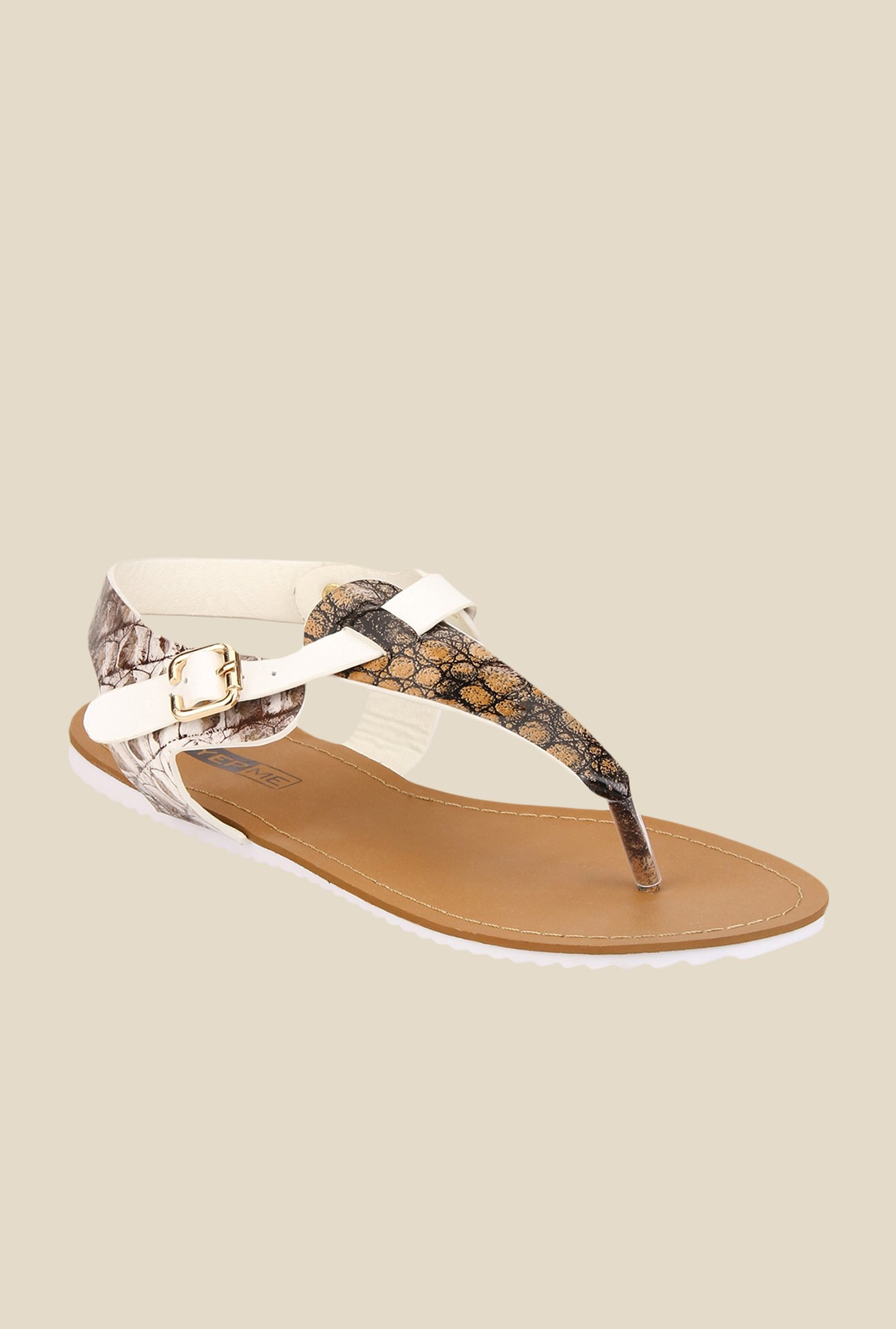 Yepme Brown & White T-Strap Sandals