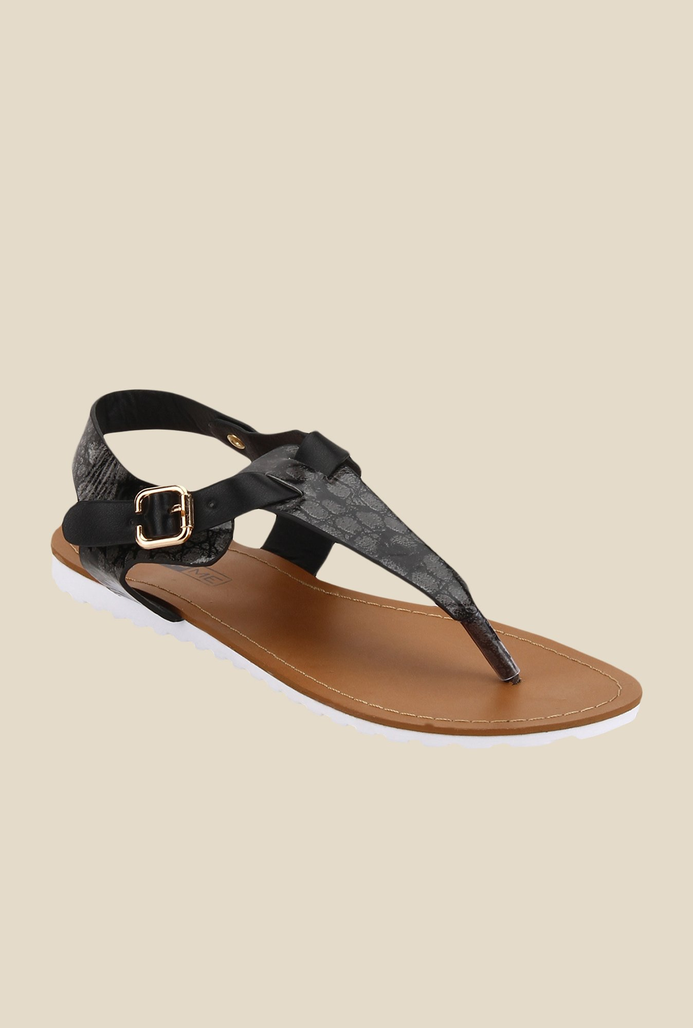 Yepme Black T-Strap Sandals