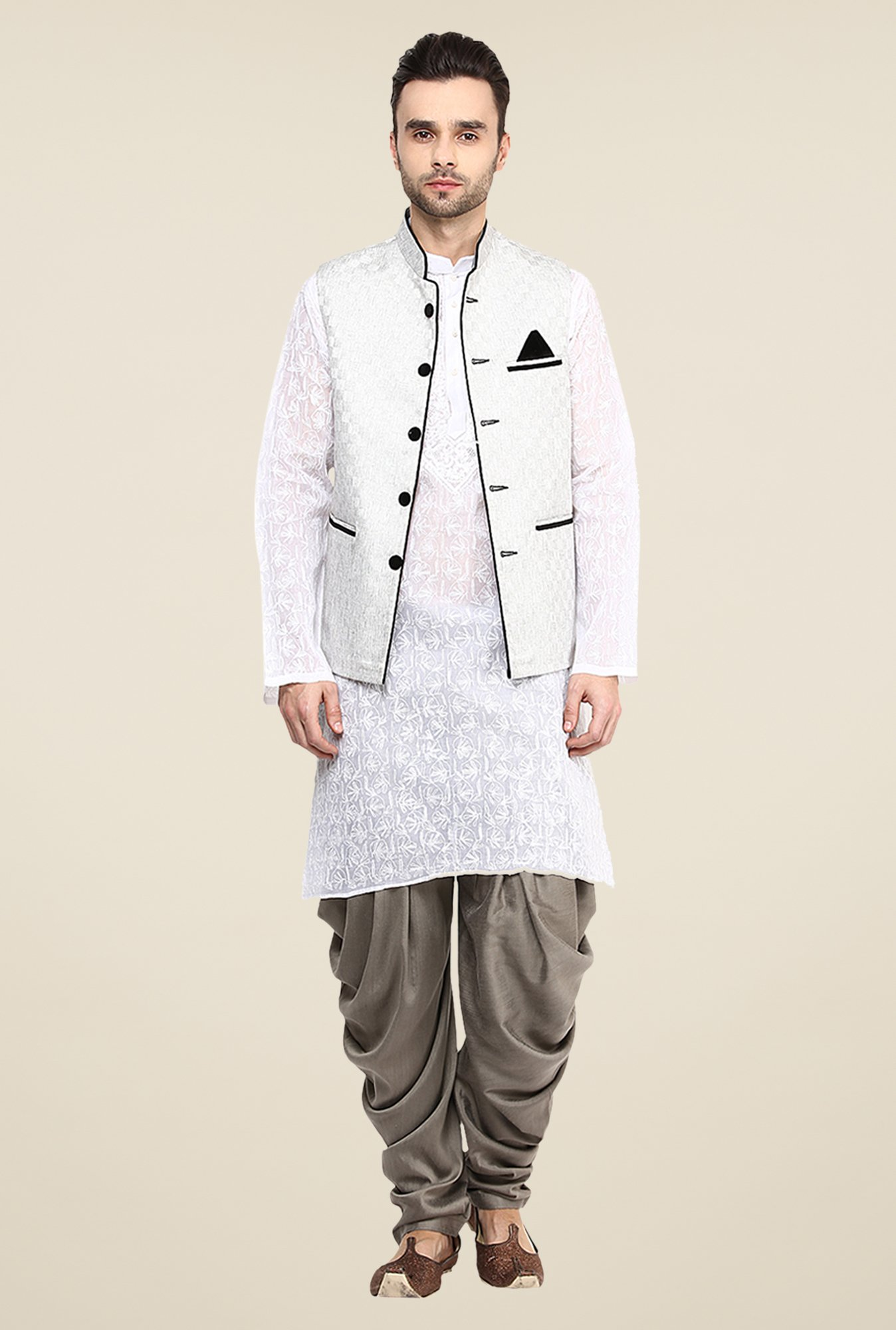Yepme Off White Jason Self Print Nehru Jacket