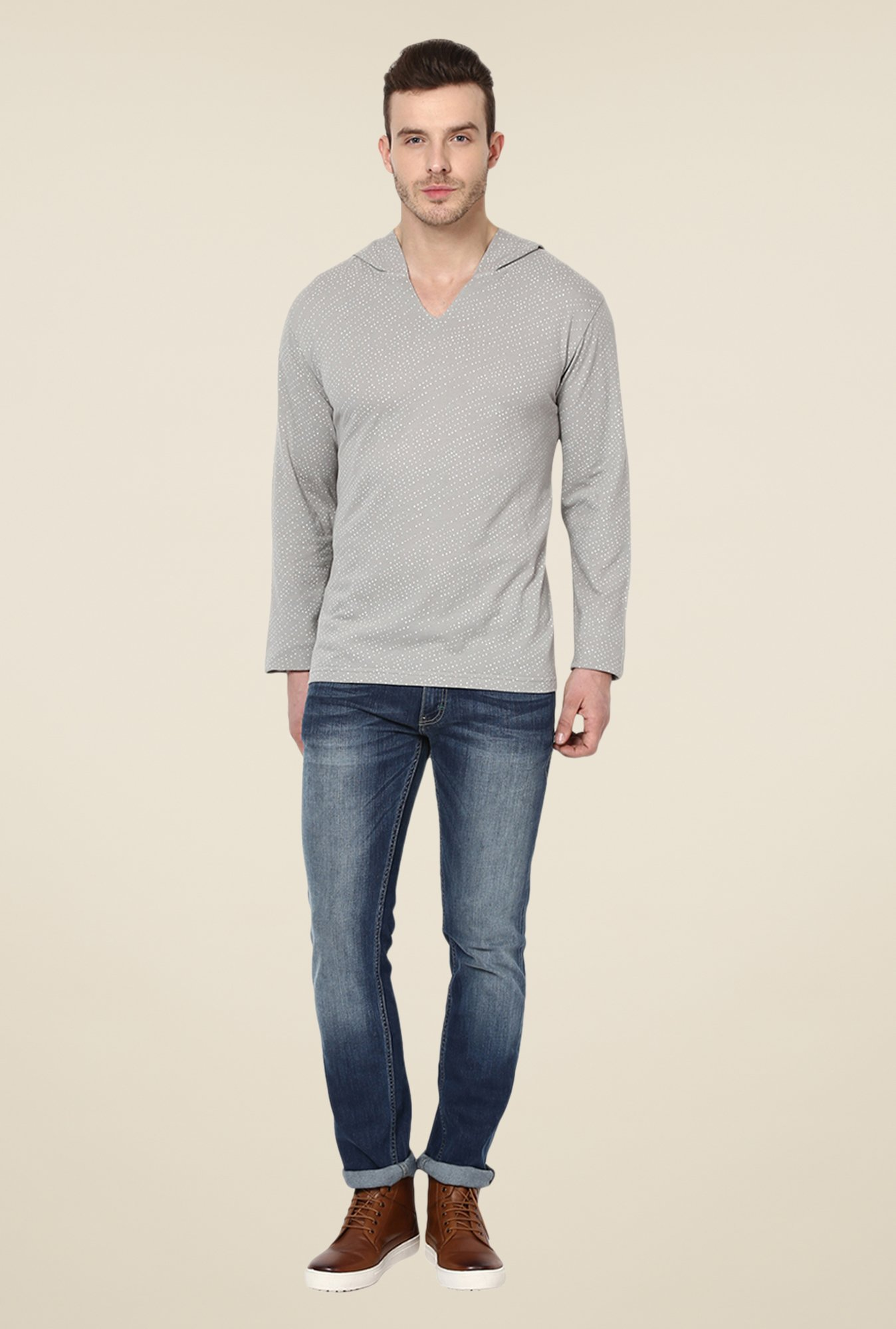 Yepme Grey Marc Printed T Shirt