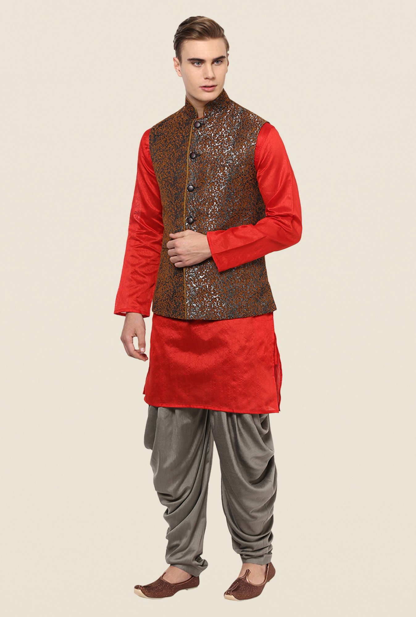 Yepme Brown Austin Printed Nehru Jacket