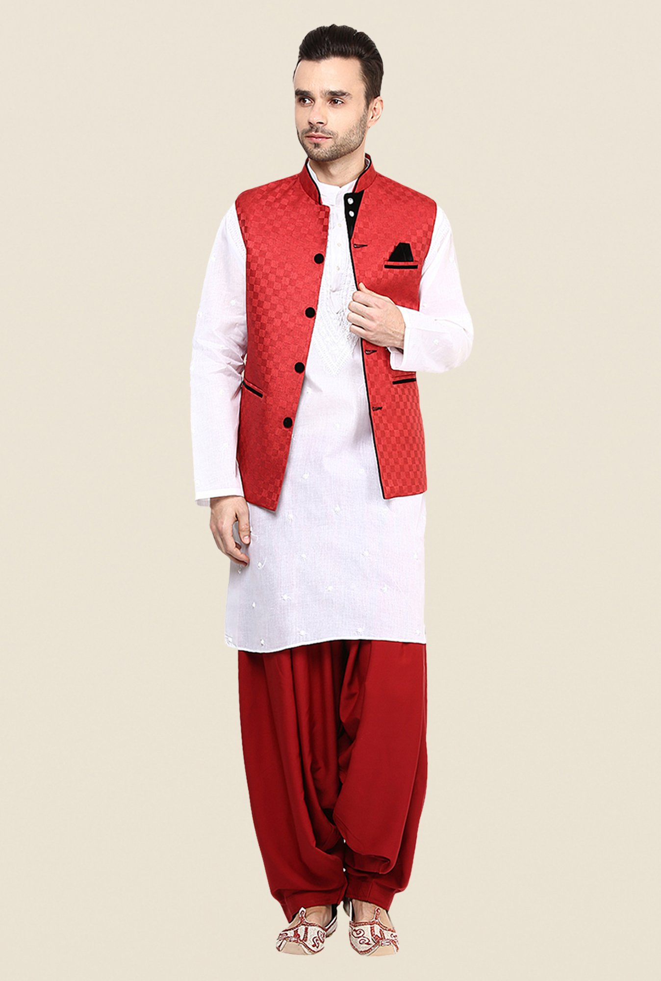 Yepme Red Allen Self Print Nehru Jacket