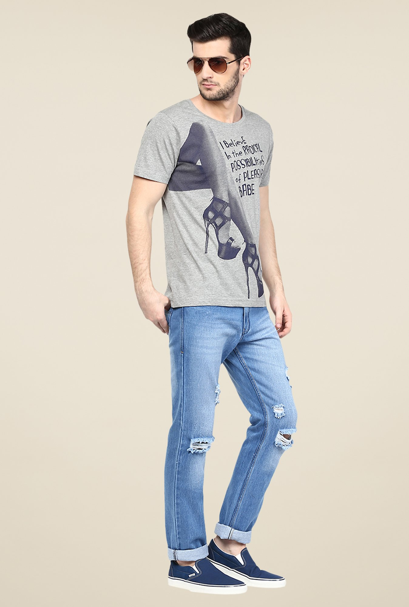 Yepme Grey Graphic Print T Shirt