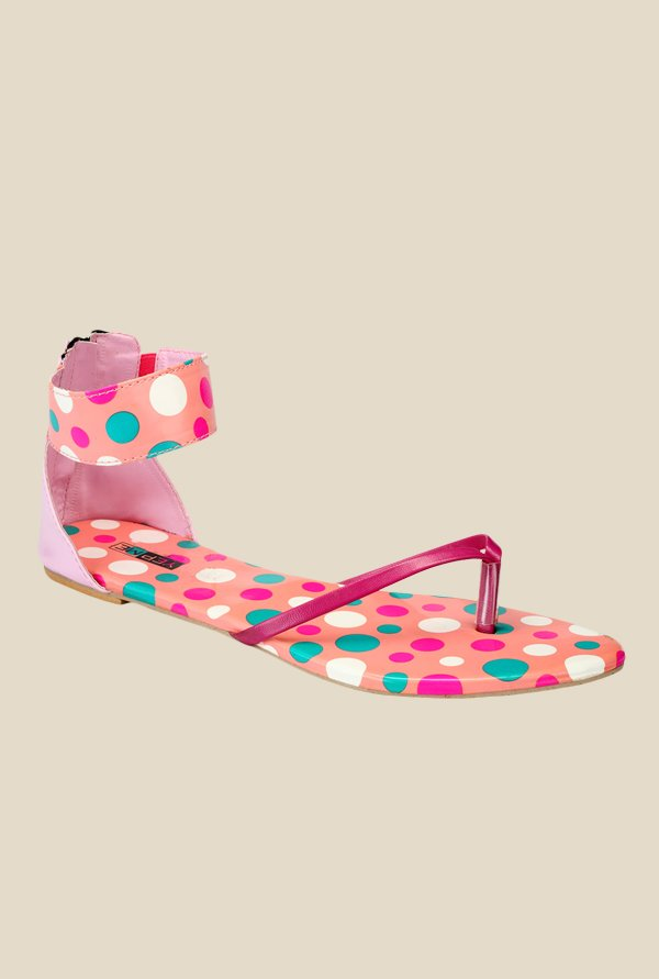 Yepme Pink & Peach Ankle Strap Sandals