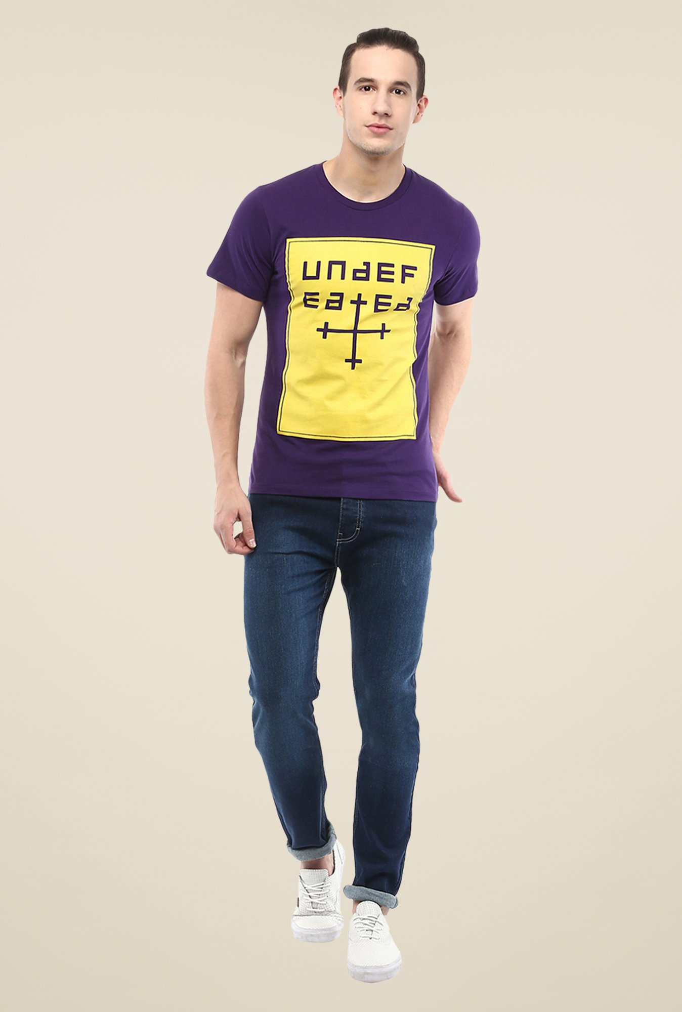 Yepme Undefeated Purple Printed T Shirt