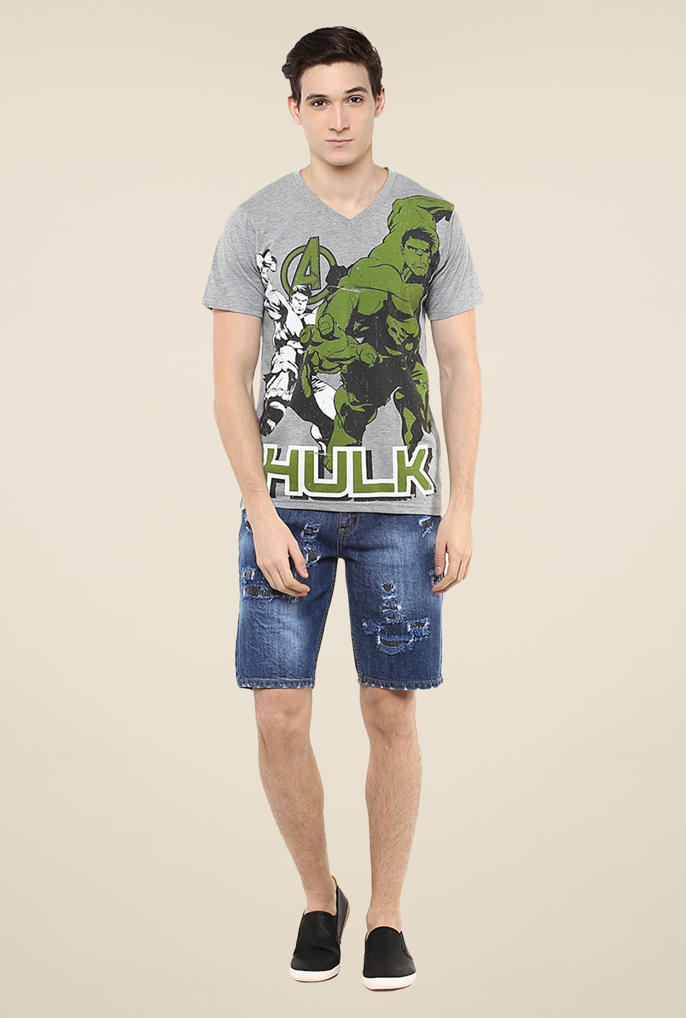 Yepme Marvel Hulk Grey Graphic Print T Shirt