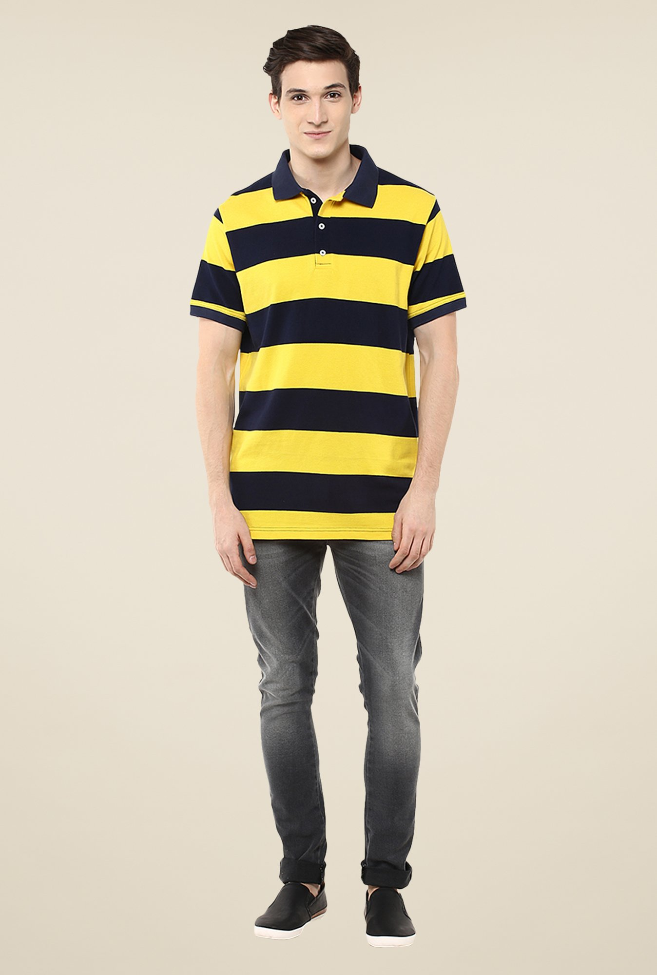Yepme Yellow & Navy Brock Striped Polo T Shirt