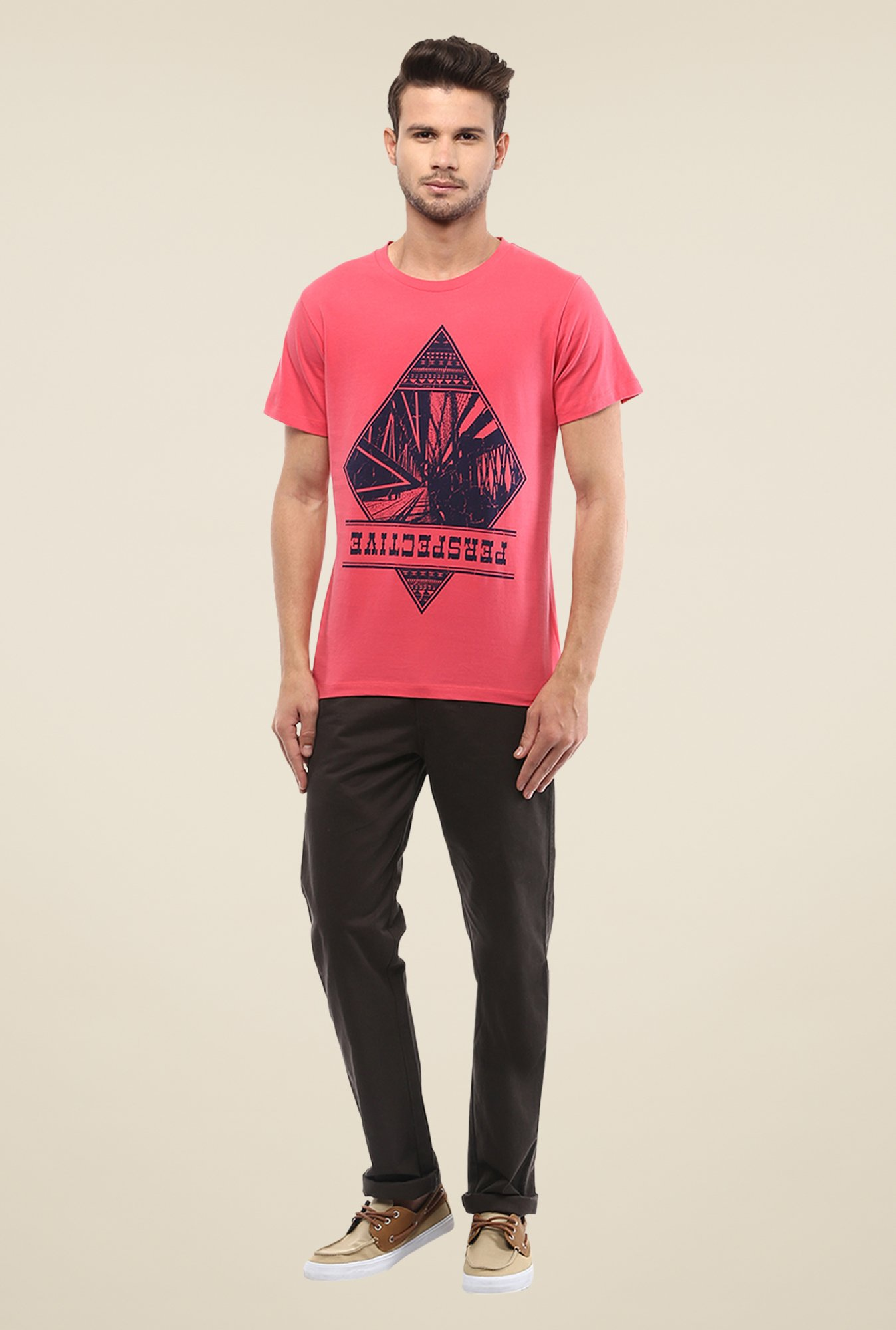 Yepme Perspective Coral Printed T Shirt