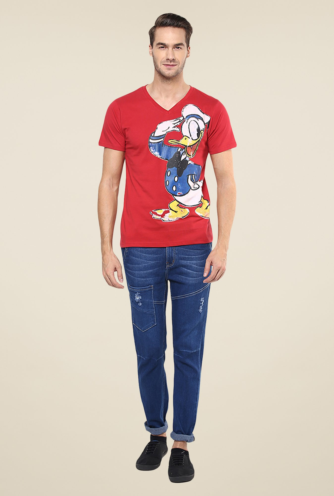 Yepme Disney Donald Salute Red Graphic Print T Shirt