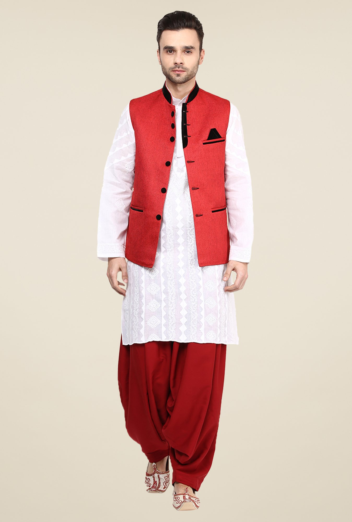 Yepme Red Alex Solid Nehru Jacket