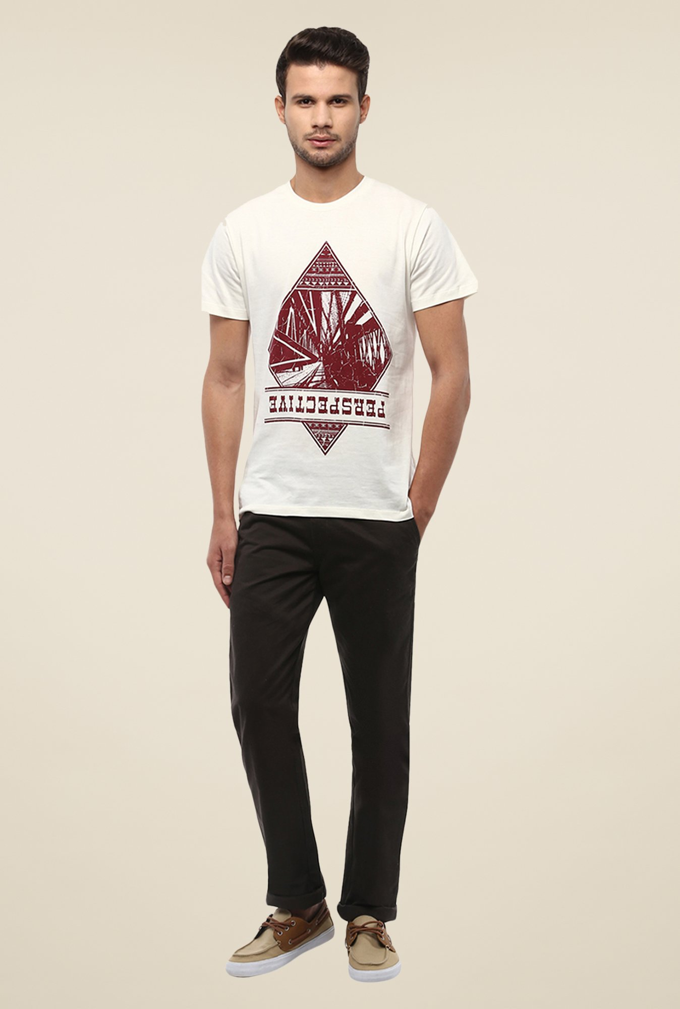 Yepme Perspective White Graphic Print T Shirt