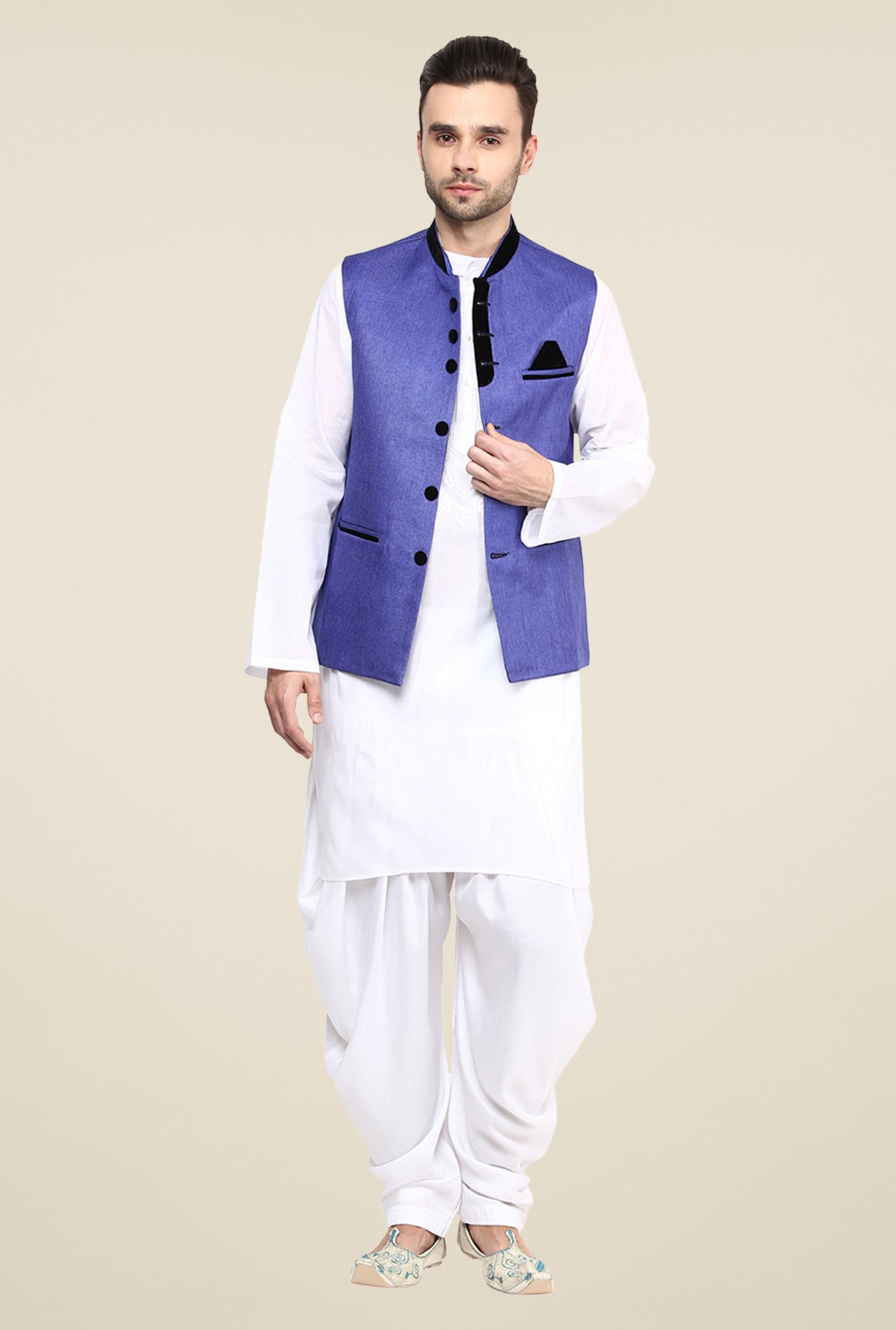 Yepme Blue Alex Solid Nehru Jacket