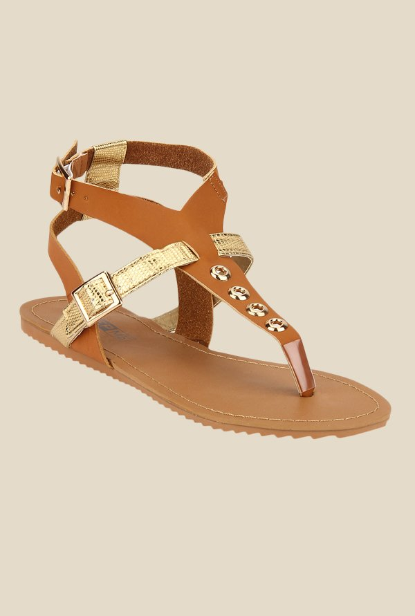 Yepme Brown & Golden Ankle Strap Sandals