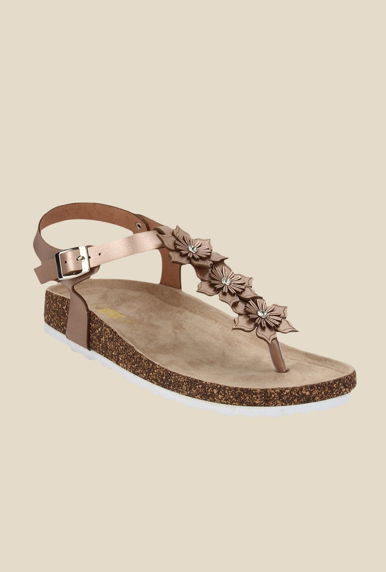 Yepme Shiny Brown Ankle Strap Sandals