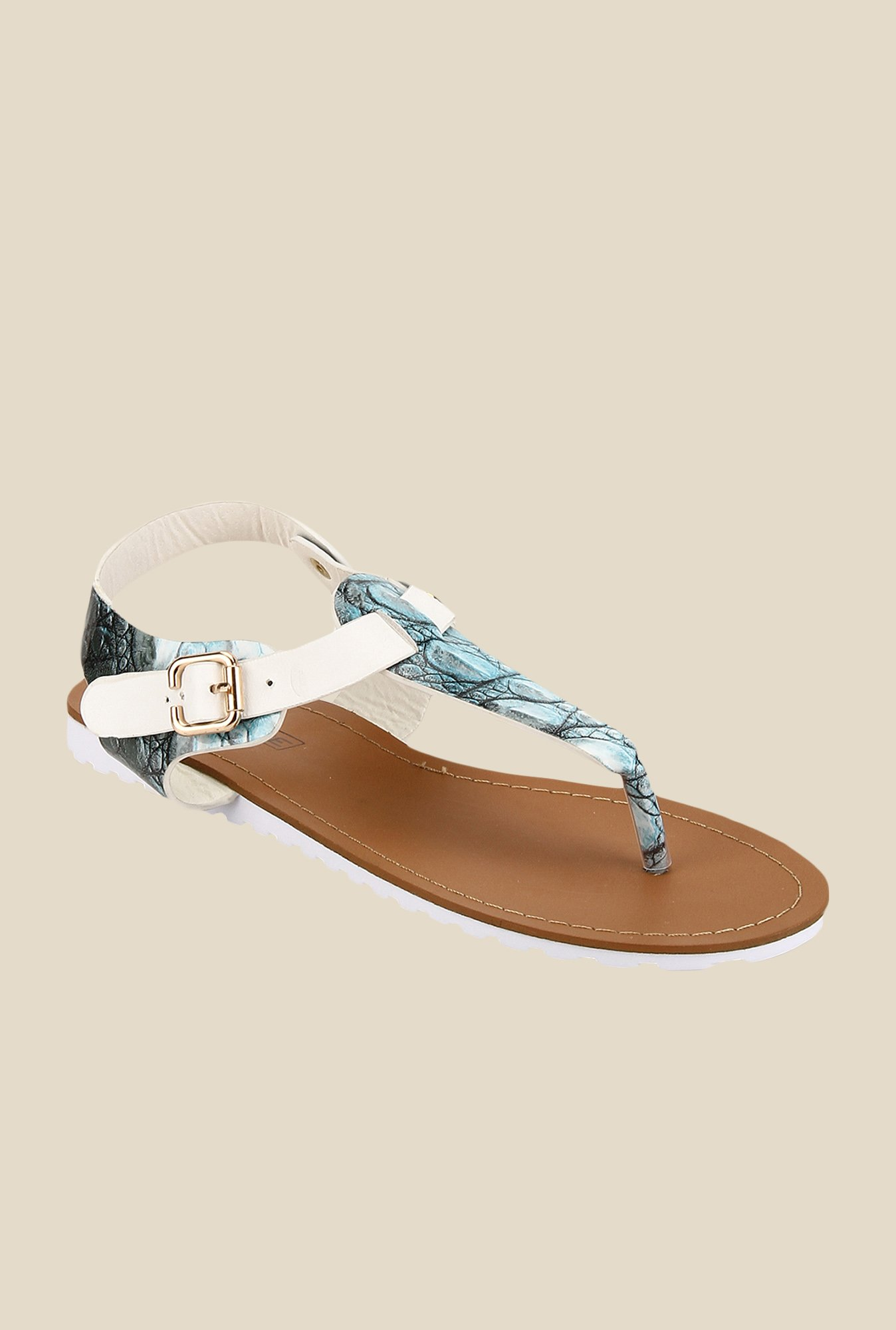 Yepme White & Water Blue T-Strap Sandals