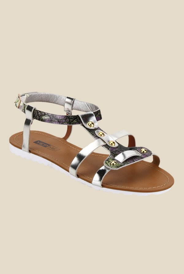 Yepme Green & Silver Ankle Strap Sandals