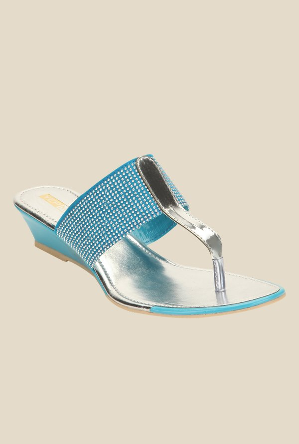 Yepme Blue & Silver T-Strap Wedges
