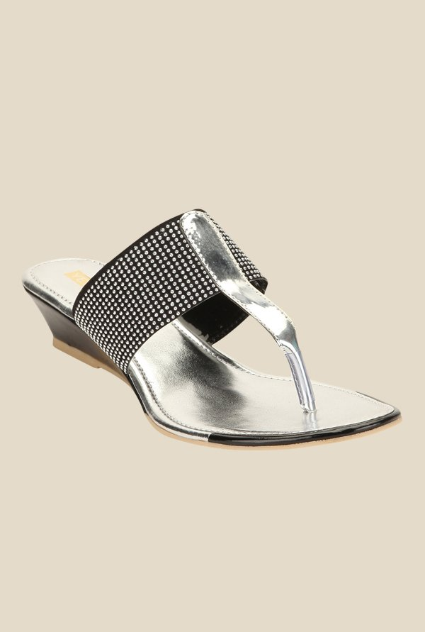 Yepme Black & Silver T-Strap Wedges