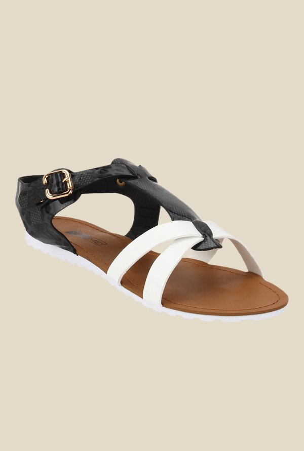 Yepme Black & White Ankle Strap Sandals