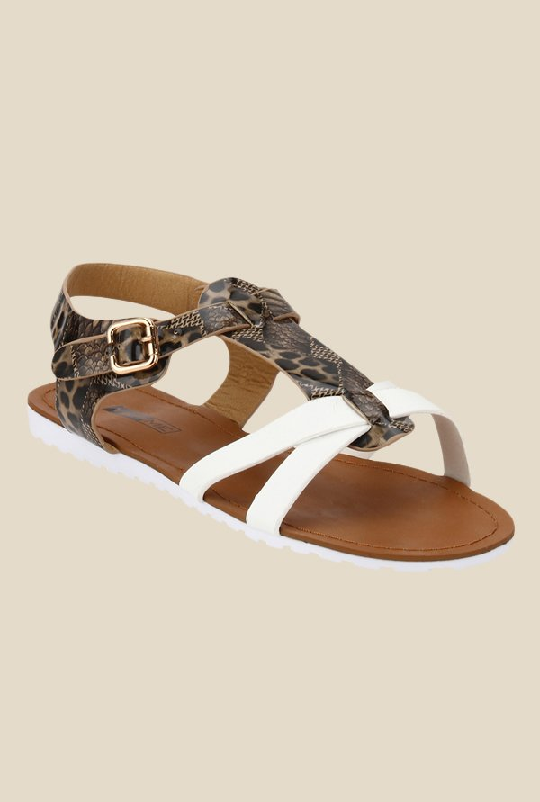 Yepme Brown & White Ankle Strap Sandals